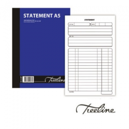 Stationery Wholesalers  statement A5 book, statement pen carbon, duplicatepaper, soft cover, blue book treeline