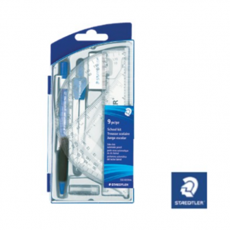 Stationery Wholesalers| Staedtler Compas set , 9 piece set , blue pen, Blue Case , Silvers