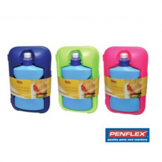 Stationery Wholesalers |lunch box with bottle, penflex, green, pink, blue, bottle amd lunch box