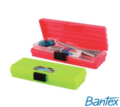 Stationery Wholesalers   Bantex McCasey 3 Pencil Case, Pink , 20 CM , Assorted Colors , Green Pencil Case, Lock It
