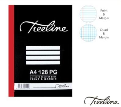 Stationery Wholesalers| Treeline Book , Hard Cover Book , A4 , 128 PG, Feint &Margin , Quad & Margin, Black Cover , Book