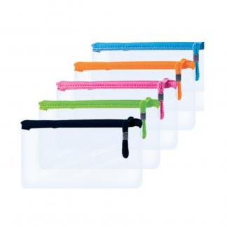 Stationery Wholesalers |pencil, treeline, black , green, pink, orange, blue, purple, see thru pencil bag, zip up bag, 20cm