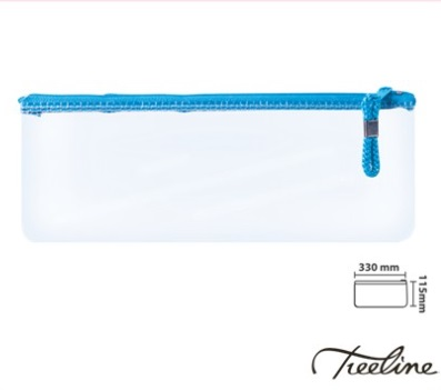 Stationery Wholesalers   Treeline, Clear Pencil Bag , Transucent Pencil Case, colored zip Bag , 33CM